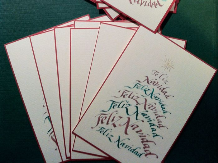 Christmas caligrafía Feliz Navidad