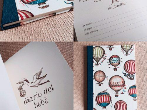 Diario del bebé encuadernado con papel de globos