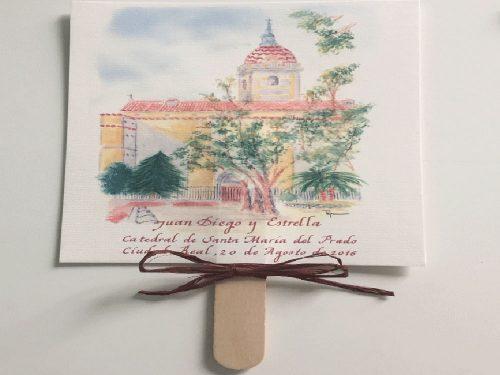 Pay pay con acuarela de la iglesia y caligrafía