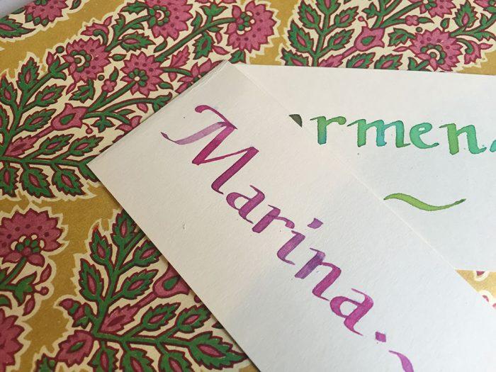 Nombres a caligrafía, meseros individuales