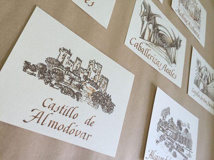Meseros de sitios de Córdoba a plumilla en sepia