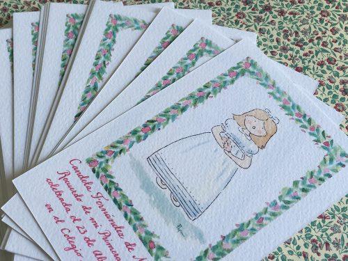 Recordatorio de Primera Comunión niña greca de flores